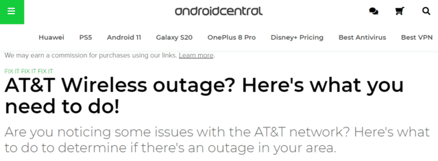 android central att internet outage