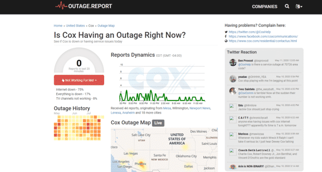 cox internet outage outage.report