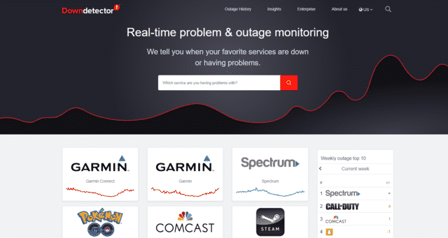 downdetector optimum internet outage