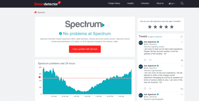 spectrum internet outage downdetector
