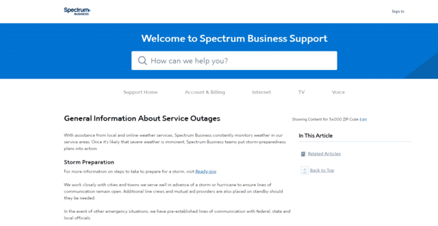 spectrum internet outage spectrumbusiness