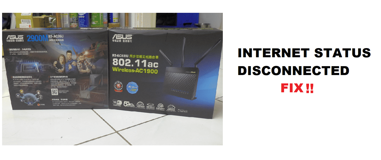 asus rt ac68u internet status disconnected