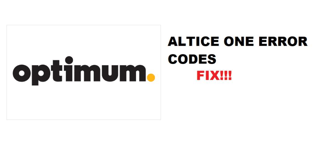 optimum altice one error codes