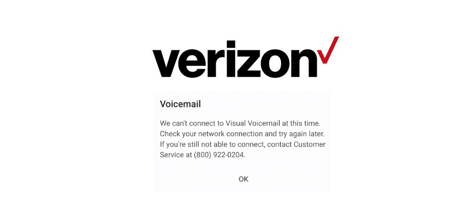 can't connect to visual voicemail verizon
