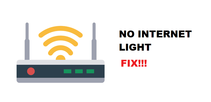 no internet light on modem