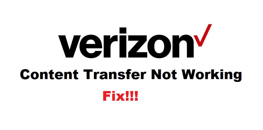 verizon content transfer not working