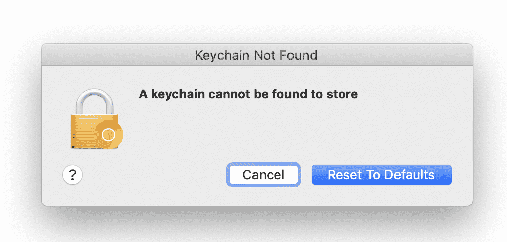a keychain cannot be found to store wifi