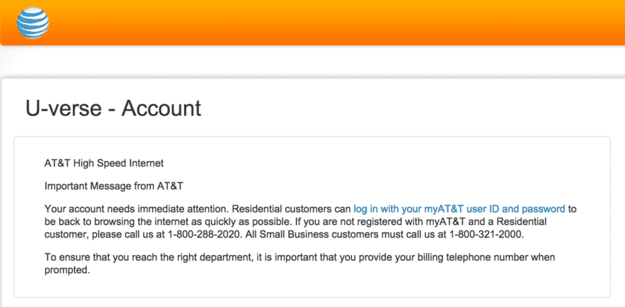att uverse your account needs immediate attention